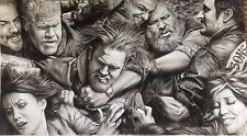 """Sons of Anarchy Fight Scene Massive ART CHARCOAL DRAWING 20X36"""" ORIGINAL"""