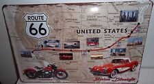 "ROUTE 66, INDIAN & CORVETTE ,  EMBOSSED(3D)  VINTAGE-STYLE SIGN, 12""X 8"" 30X20cm"