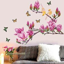 Huge Magnolia Flower Tree & Butterfly Birds Wall Stickers Art Decal Wallpaper