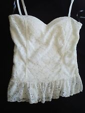White Lace Top w/ Skinny Straps Built-in Soft Cups Ruffle NWT NEW Sz Large Lined