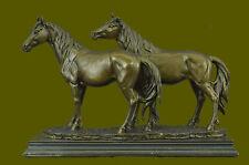 Art Deco Western Art Two Large Stallions Horses Classic Hot Cast Bronze Statue