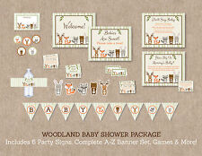Woodland Animals Printable Baby Shower Party Package