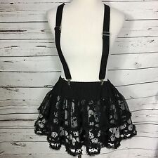 Tripp NYC Mini Goth Kawaii Skull Lolita Skirt Removable Suspenders Sz Large