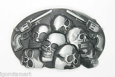 Vintage Silver Pirate Skull Heads with 2 Pistol Guns Trouser Jeans Belt Buckle