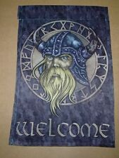 Scandinavian Viking with Runes Decorative Garden Flag Micah Holland art GFL5030