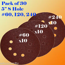 "5"" 8 Hole 60 120 240 Grit  Sand Disc Random Orbit Sandpaper Hook & Loop Sander"