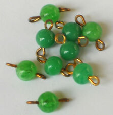 #1096a  Vintage Connectors Drops Dangles Beads Dangle Charms Emerald Glass NOS