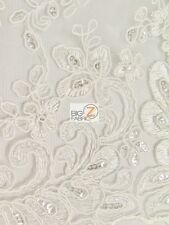 CINDERELLA FLORAL SEQUINS LACE FABRIC - Ivory - BY YARD BRIDAL DECOR DRESS GOWN