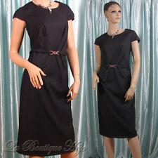 Elegantes Business Kleid mit Zierschnalle, Kurzarm, Grau, gefüttert,  Gr. 44