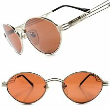 True Vintage Indie Fashion Silver Brown Lens Mens Womens Round Oval Sunglasses