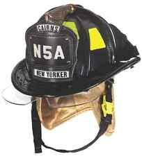 "MSA Cairns N5A ""New Yorker"" Black Leather Firefighters Helmet w/ Bourkes MEDIUM"