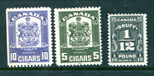 3 different Mint Canada Cigars/Snuff Revenue Stamps (Lot #RR87)