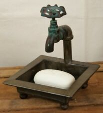 Primitive Vintage Look`Metal ~Faucet~ `Soap Dish` Nice Patina ~