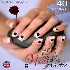 Gothic Blood Rose Nail Water Transfers Decal Art Stickers x 40