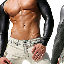 Men Leather Look Mesh Sheer Sexy Double Shoulder Fitness Sport Arm Sleeves Shrug