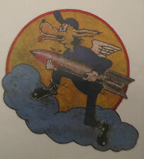 WWII  US ARMY AIR FORCE WOLF WITH BOMB PAINTED LEATHER FLIGHT JACKET PATCH 2