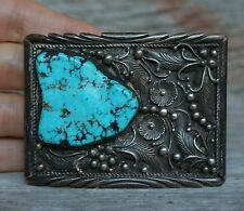 Stunning Vintage Native American Navajo Sterling Silver Turquoise Belt Buckle