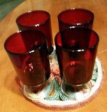 VINTAGE FRENCH CRANBERRY RED GLASS STEMMED GOBLETS SET 4, PERFECT FOR CHRISTMAS!