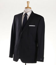 NWT $895 HUGO BOSS Black-Gray Fine Stripe Wool Suit 44 R 'The Grand/Central'