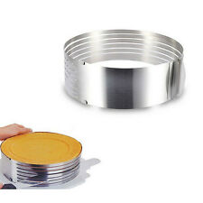 Adjustable Round Stainless Steel Mousse Cake Ring Mold Layer Slicer Cutter DIY