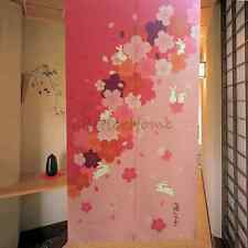 Pink Flower Door Divider Drapes Wall Hanging Japanese Noren Room Curtain