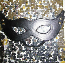 New! Faux Leather BLACK CAT EYE Party MASK Halloween Masquerade Ball Costume 323