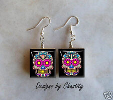 Sugar Skull Scrabble Earrings - Dia de los Muertos Day of The Dead - Pink Eyes