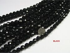 10 STRANDS 10MM BLACK ROUND FACETED GLASS BEADS LOT (SSS3)