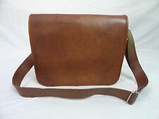 "14x10"" Real Brown Leather Satchel 13"" MacBook Laptop Crossbody Messenger Bag"