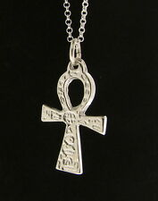 925 Sterling Silver Engraved Ankh Cross Pendant - Hand Finished Made in England
