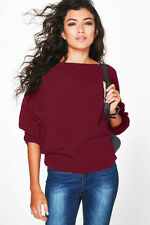 UK  Womens Oversized Loose Knitted Batwing Baggy Jumper Tops Cardigans Sweater