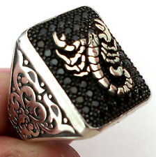 Scorpion, Turkish 925 S. Silver Black Topaz Stone Men's Ring Sz 11.75 us #n088