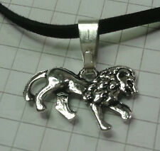 "TIBETAN SILVER D/S MED  LOIN PENDANT ON18"" VELVET OR 20""SILVER PLT NECKLACE"