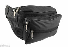 Bum Bag Money Belt Waist Pouch Leather 7 Zips Holiday Bumbag Black Travel
