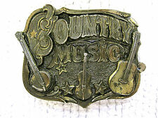 1982 Country Music Guitar Fiddle Banjo Brass Belt Buckle Serial #919-Made in USA