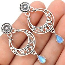 Rainbow Moonstone Floral Sterling Silver Earrings Jewelry SE113369