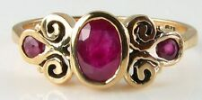 DIVINE 9K GOLD HAND MADE RICH RUBY ETRUSCAN SCROLL VICTORIAN INS RING