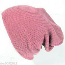 Unisex  Soft Ribbed Winter Long Beanie Slouchy Slouch Knit Ski Hat Cap Pink