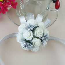 Wedding Bridesmaid Prom Party Wrist Corsage Pearl Bracelet Hand Wrist Flower
