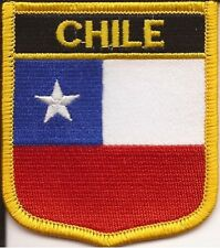 "CHILE  SHIELD FLAG EMBROIDERED PATCH --- IRON-ON --- NEW 2.5"" x 2.75"""