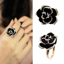 New Charming Size 8 Ring Gold Crystal Big Rose Flower Ring Women High Quality