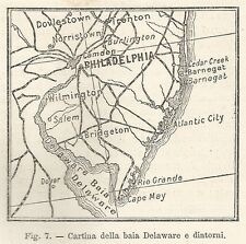 A2051 Baia di Delaware - Carta geografica antica del 1895 - Antique Map