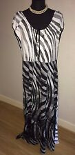 NWT SIGNATURE EXPERIENCE & WHITE PATTERNED STRETCH MAXI DRESS SIZE XL RRP £89