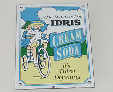 Enamel Sign  -  IDRIS CREAM SODA  -  a hot summers day - it's thirst defeating -