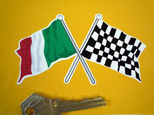 Cruzado Italiana & accidentada Bandera Moto Adhesivo 100mm Italia Italia Race Car Racing