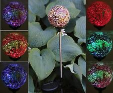 Solar Power Garden Glass Ball Stake Outdoor Landscape Path Lamp Yard LED Light