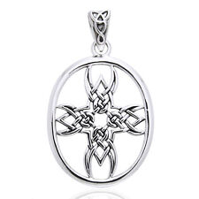 Tribal Cross Symbol Celtic Knotwork Sterling Silver Pendant by Courtney Davis
