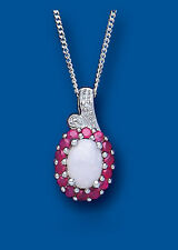 Sterling Silver Real Ruby, Opal & Diamond Pendant