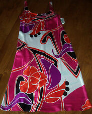 NWT N Natori Art DECO FLORAL Pink/Black Satin CHARMEUSE Nightgown Gown S $58