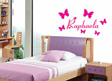Personalised Name Girls Wall Sticker Bedroom Childrens Kids Butterfly